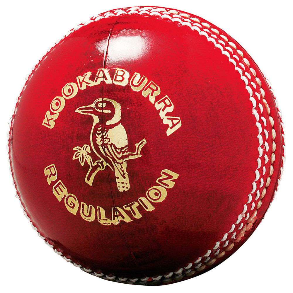Cricket ball, white background, kookaburra, gold writing