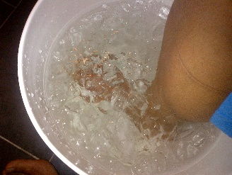 A foot in an ice bucket